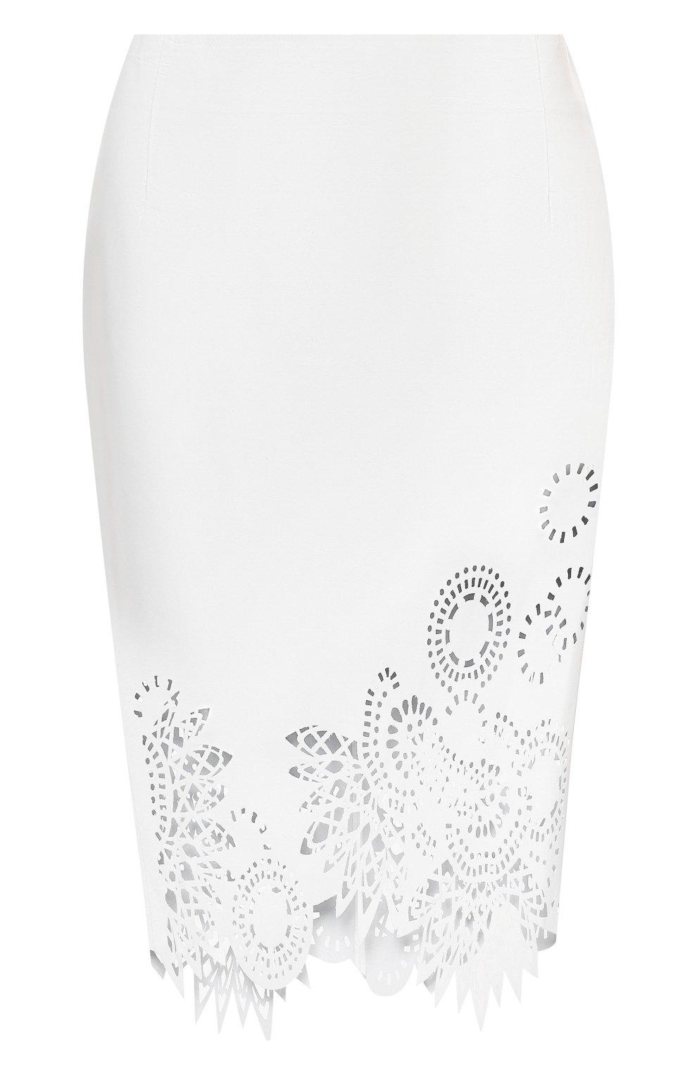 Женская кожаная юбка DRIES VAN NOTEN белого цвета, арт. 211-11802-2371   Фото 1