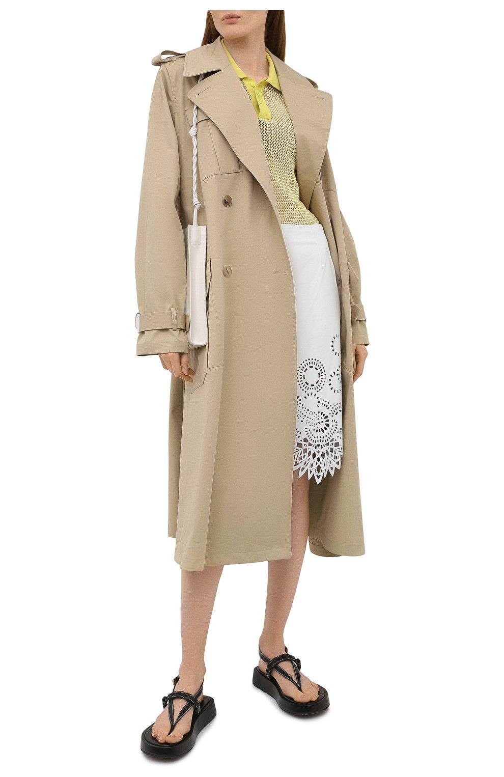 Женская кожаная юбка DRIES VAN NOTEN белого цвета, арт. 211-11802-2371   Фото 2
