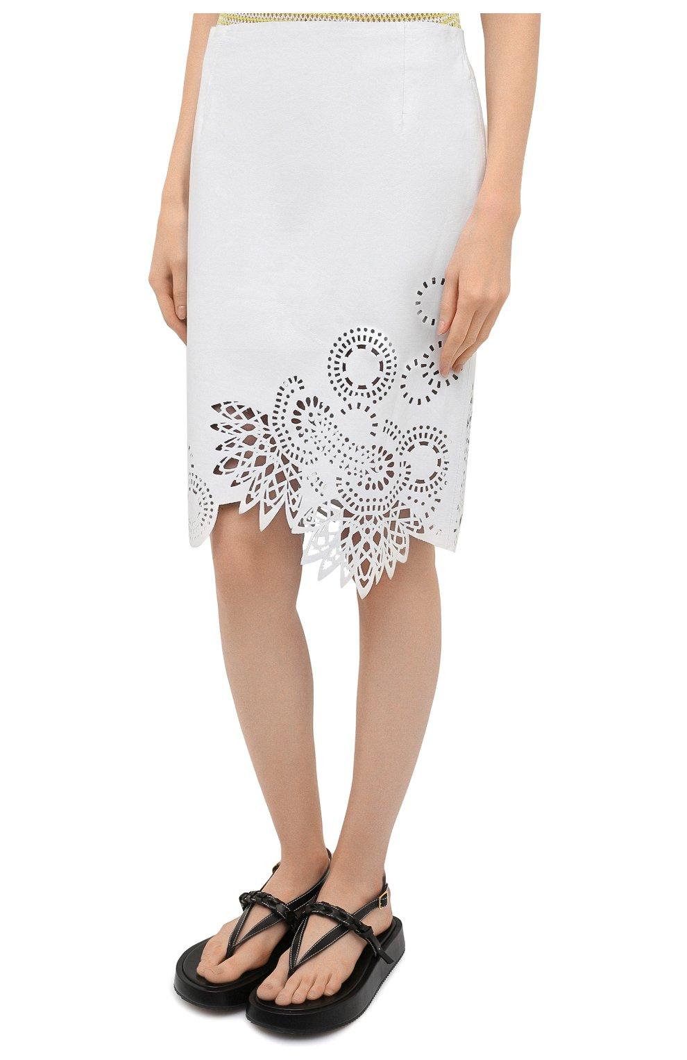 Женская кожаная юбка DRIES VAN NOTEN белого цвета, арт. 211-11802-2371   Фото 3