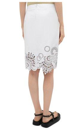 Женская кожаная юбка DRIES VAN NOTEN белого цвета, арт. 211-11802-2371   Фото 4