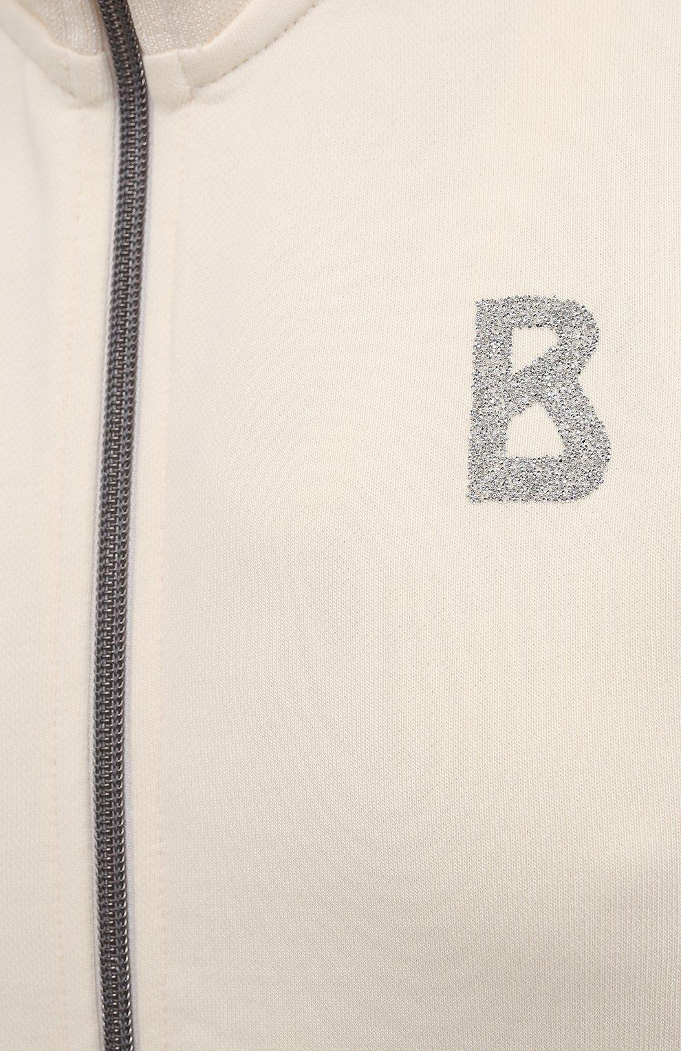Женский хлопковая толстовка BOGNER бежевого цвета, арт. 86226678   Фото 5 (Рукава: Длинные; Женское Кросс-КТ: Толстовка-спорт, Толстовка-одежда, Кардиган-одежда; Кросс-КТ: Спорт; Длина (для топов): Стандартные; Материал внешний: Хлопок; Стили: Спорт-шик)