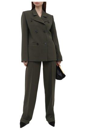 Женские брюки из вискозы LESYANEBO темно-зеленого цвета, арт. SS21/Н-157_3 | Фото 2 (Материал внешний: Вискоза; Длина (брюки, джинсы): Удлиненные; Женское Кросс-КТ: Брюки-одежда; Силуэт Ж (брюки и джинсы): Широкие; Стили: Кэжуэл)