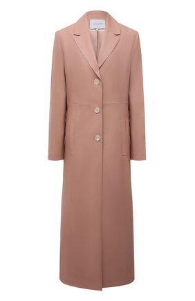 Женское приталенное пальто LESYANEBO бежевого цвета, арт. SS21/Н-572/VL_2 | Фото 1 (Рукава: Длинные; Материал внешний: Вискоза, Синтетический материал; Длина (верхняя одежда): Короткие; 1-2-бортные: Однобортные; Стили: Кэжуэл)