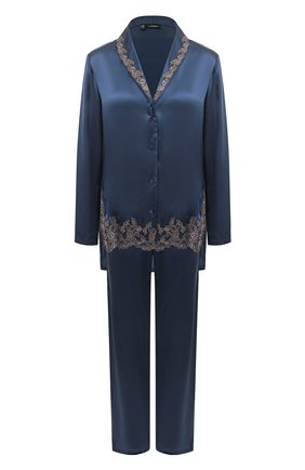 Женская шелковая пижама LA PERLA темно-синего цвета, арт. 0051240 | Фото 1