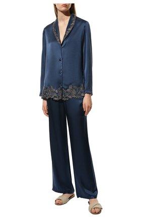 Женская шелковая пижама LA PERLA темно-синего цвета, арт. 0051240 | Фото 2