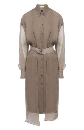 Женское платье из хлопка и шелка BRUNELLO CUCINELLI серого цвета, арт. MF940ANV81 | Фото 1