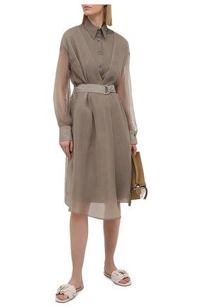 Женское платье из хлопка и шелка BRUNELLO CUCINELLI серого цвета, арт. MF940ANV81 | Фото 2