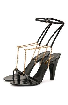 Женские кожаные босоножки sue SAINT LAURENT черного цвета, арт. 650702/EX7FF | Фото 1 (Подошва: Плоская; Материал внутренний: Натуральная кожа; Каблук высота: Высокий; Каблук тип: Устойчивый)