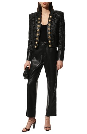 Женские кожаные босоножки sue SAINT LAURENT черного цвета, арт. 650702/EX7FF | Фото 2 (Подошва: Плоская; Материал внутренний: Натуральная кожа; Каблук высота: Высокий; Каблук тип: Устойчивый)