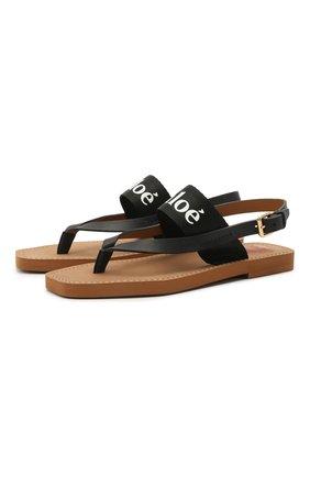 Женские комбинированные сандалии woody CHLOÉ черного цвета, арт. CHC20U32708 | Фото 1