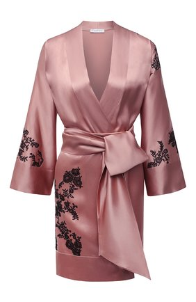 Женский шелковый халат CARINE GILSON розового цвета, арт. CG0137GS S21 | Фото 1