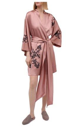 Женский шелковый халат CARINE GILSON розового цвета, арт. CG0137GS S21 | Фото 2