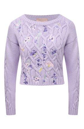 Женский хлопковый свитер ERMANNO FIRENZE сиреневого цвета, арт. D38ET MG08FET | Фото 1