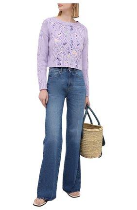 Женский хлопковый свитер ERMANNO FIRENZE сиреневого цвета, арт. D38ET MG08FET | Фото 2