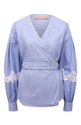 Женская хлопковая рубашка ERMANNO FIRENZE голубого цвета, арт. D38ET CM18RIG | Фото 1