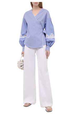 Женская хлопковая рубашка ERMANNO FIRENZE голубого цвета, арт. D38ET CM18RIG | Фото 2