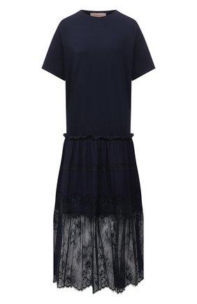 Женское хлопковое платье ERMANNO FIRENZE синего цвета, арт. D38ET AB04JC0 | Фото 1