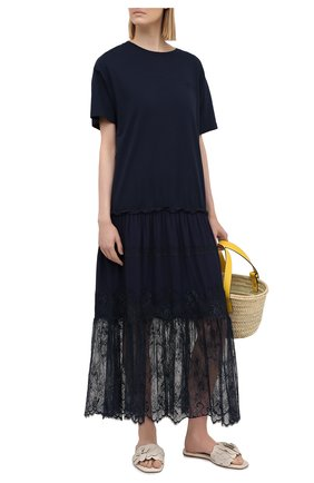Женское хлопковое платье ERMANNO FIRENZE синего цвета, арт. D38ET AB04JC0 | Фото 2