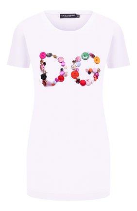 Женская хлопковая футболка DOLCE & GABBANA белого цвета, арт. F8H32Z/G7Y0M   Фото 1 (Материал внешний: Хлопок; Рукава: Короткие; Длина (для топов): Стандартные; Принт: С принтом; Женское Кросс-КТ: Футболка-одежда; Стили: Гламурный)