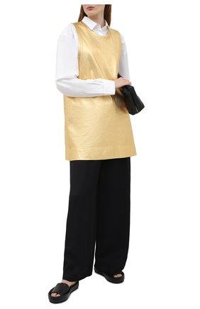 Женское хлопковое платье DRIES VAN NOTEN золотого цвета, арт. 211-11123-2624 | Фото 2