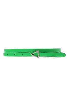Женский кожаный ремень BOTTEGA VENETA зеленого цвета, арт. 619759/VMAU1 | Фото 1 (Материал: Кожа)