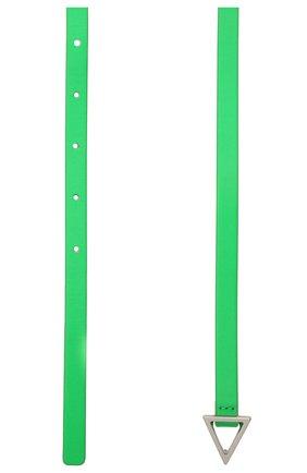 Женский кожаный ремень BOTTEGA VENETA зеленого цвета, арт. 619759/VMAU1 | Фото 2 (Материал: Кожа)
