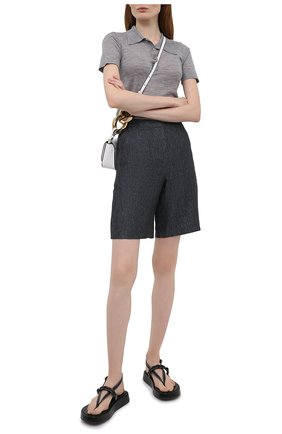 Женские льняные шорты EMPORIO ARMANI темно-синего цвета, арт. ANP48T/A2121 | Фото 2 (Материал внешний: Лен; Длина Ж (юбки, платья, шорты): Мини; Женское Кросс-КТ: Шорты-одежда; Стили: Кэжуэл)