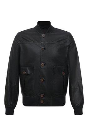 Мужской кожаный бомбер GIORGIO BRATO черного цвета, арт. GU21S9850G0NP | Фото 1