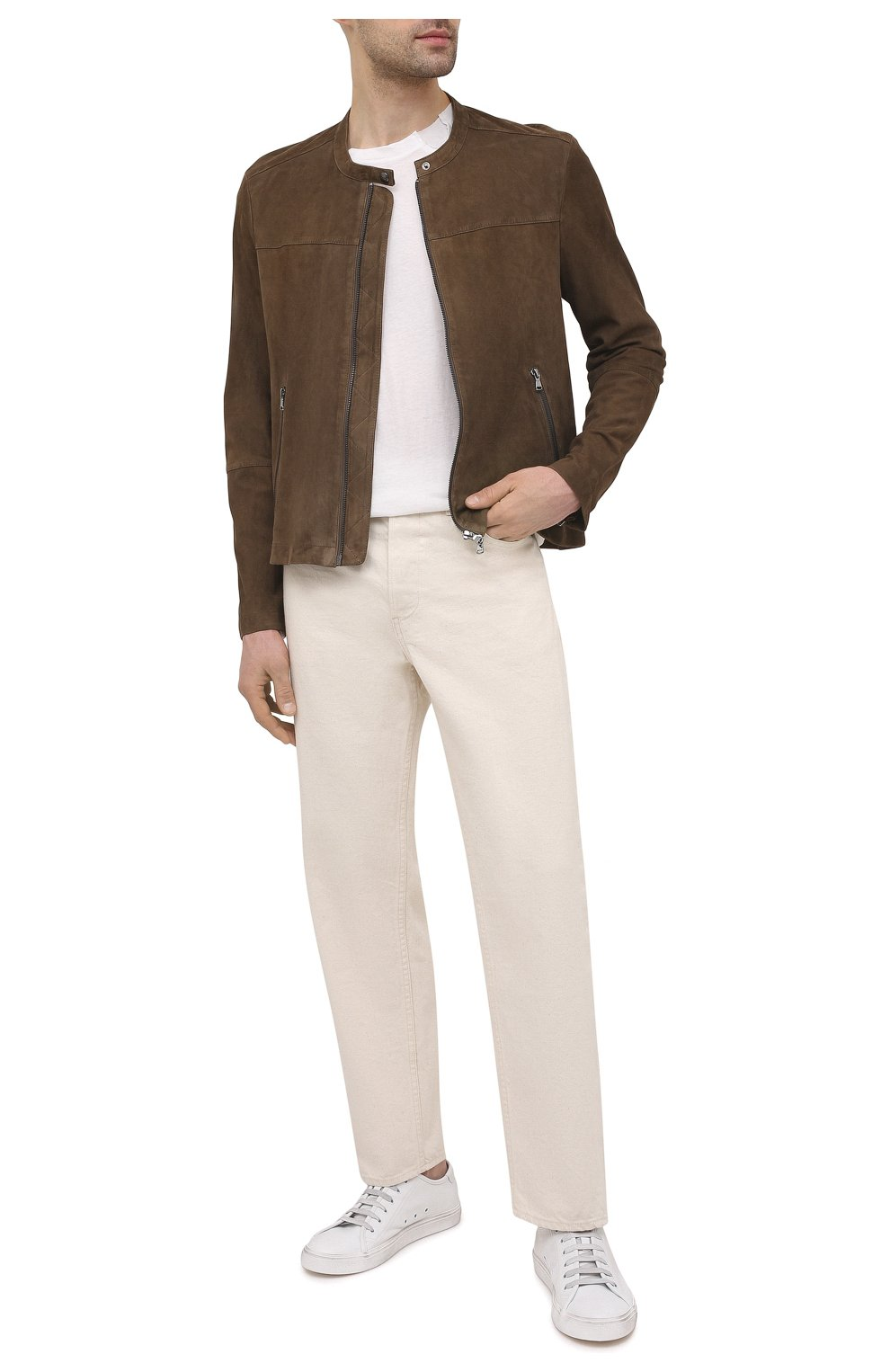 Мужская замшевая куртка GIORGIO BRATO коричневого цвета, арт. GU21S9451G0SU   Фото 2 (Кросс-КТ: Куртка; Материал внешний: Замша; Рукава: Длинные; Мужское Кросс-КТ: Кожа и замша; Длина (верхняя одежда): Короткие; Стили: Кэжуэл)