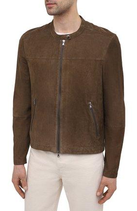 Мужская замшевая куртка GIORGIO BRATO коричневого цвета, арт. GU21S9451G0SU   Фото 3 (Кросс-КТ: Куртка; Материал внешний: Замша; Рукава: Длинные; Мужское Кросс-КТ: Кожа и замша; Длина (верхняя одежда): Короткие; Стили: Кэжуэл)