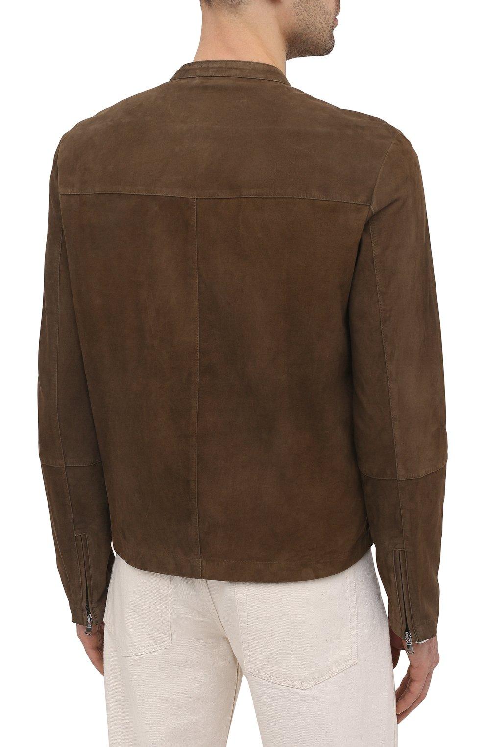 Мужская замшевая куртка GIORGIO BRATO коричневого цвета, арт. GU21S9451G0SU   Фото 4 (Кросс-КТ: Куртка; Материал внешний: Замша; Рукава: Длинные; Мужское Кросс-КТ: Кожа и замша; Длина (верхняя одежда): Короткие; Стили: Кэжуэл)