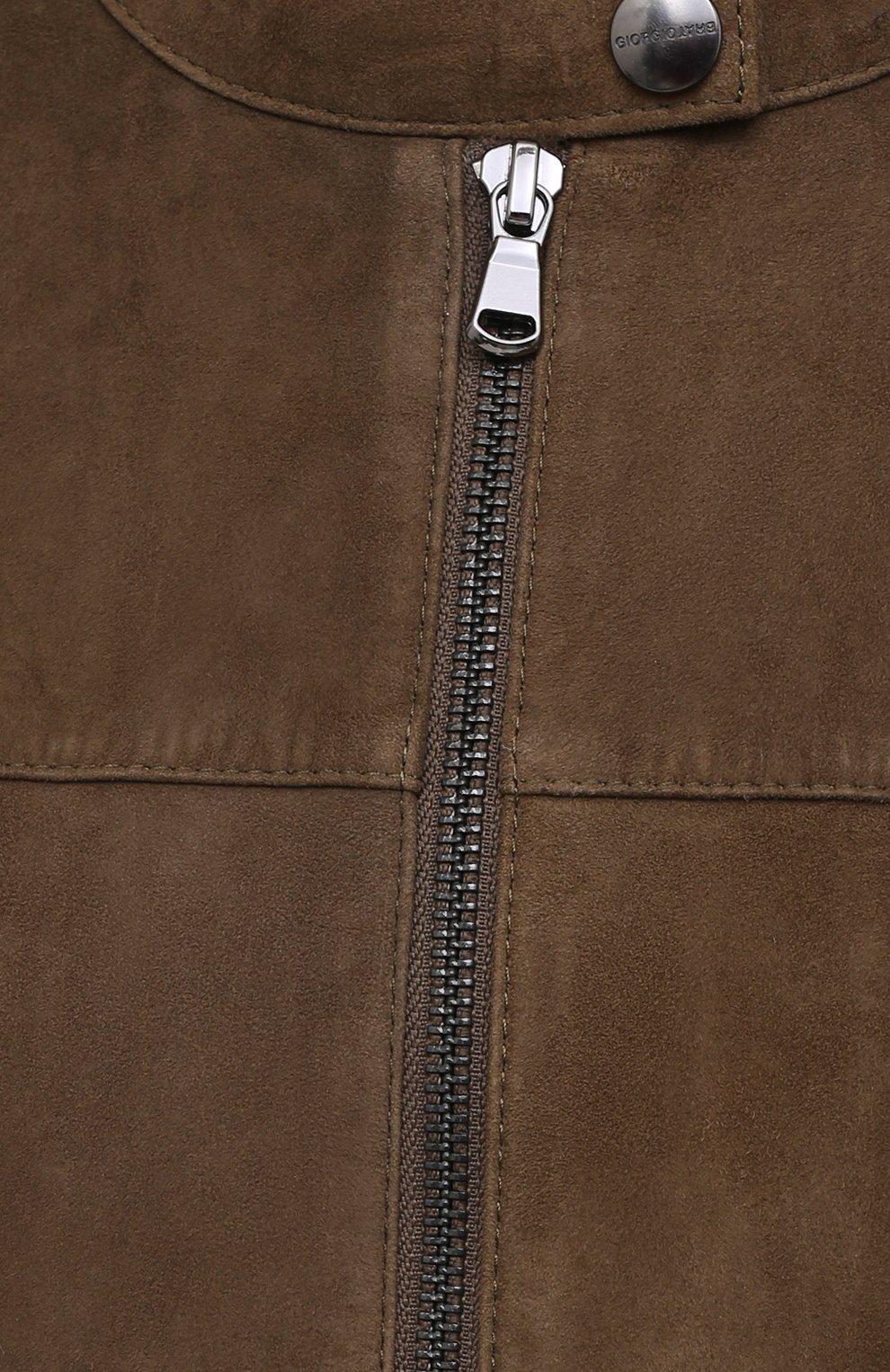 Мужская замшевая куртка GIORGIO BRATO коричневого цвета, арт. GU21S9451G0SU   Фото 5 (Кросс-КТ: Куртка; Материал внешний: Замша; Рукава: Длинные; Мужское Кросс-КТ: Кожа и замша; Длина (верхняя одежда): Короткие; Стили: Кэжуэл)