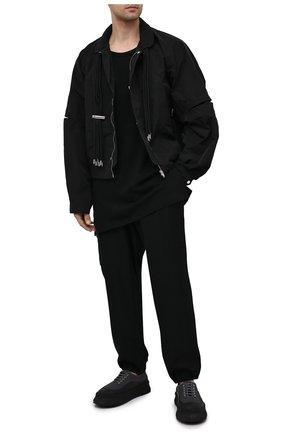 Мужская лонгслив из хлопка и льна YOHJI YAMAMOTO черного цвета, арт. HD-T56-076 | Фото 2 (Материал внешний: Хлопок, Лен; Длина (для топов): Удлиненные; Рукава: Длинные; Принт: Без принта; Стили: Минимализм)