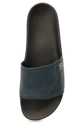 Мужские кожаные шлепанцы GIORGIO ARMANI синего цвета, арт. X2P069/XD225   Фото 5