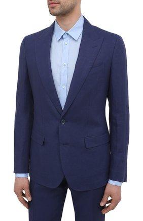 Мужской льняной костюм DOLCE & GABBANA темно-синего цвета, арт. GKC3MT/FU4JB | Фото 2