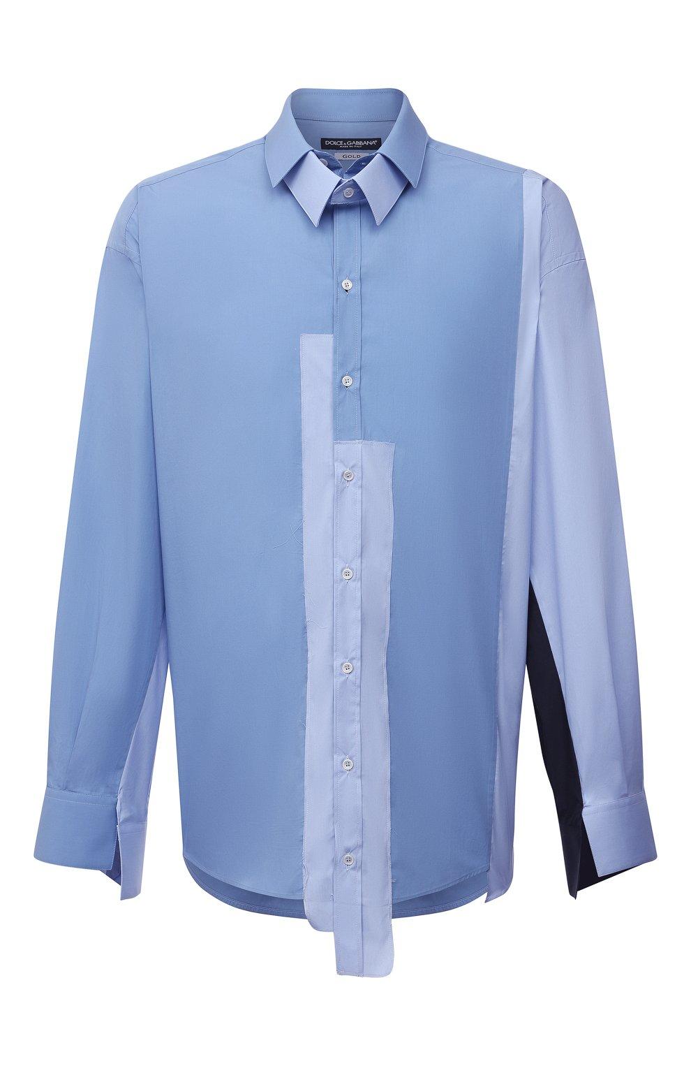 Мужская рубашка DOLCE & GABBANA голубого цвета, арт. G5IN5T/GEQ26 | Фото 1 (Манжеты: На пуговицах; Воротник: Кент; Рукава: Длинные; Случай: Повседневный; Длина (для топов): Стандартные; Материал внешний: Хлопок; Принт: Однотонные; Стили: Бохо)