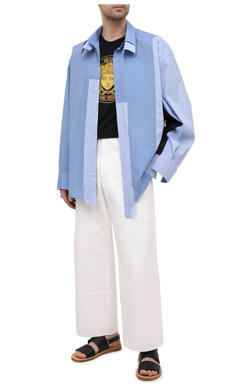 Мужская рубашка DOLCE & GABBANA голубого цвета, арт. G5IN5T/GEQ26 | Фото 2 (Манжеты: На пуговицах; Воротник: Кент; Рукава: Длинные; Случай: Повседневный; Длина (для топов): Стандартные; Материал внешний: Хлопок; Принт: Однотонные; Стили: Бохо)