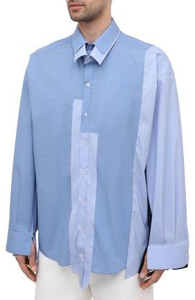 Мужская рубашка DOLCE & GABBANA голубого цвета, арт. G5IN5T/GEQ26 | Фото 3 (Манжеты: На пуговицах; Воротник: Кент; Рукава: Длинные; Случай: Повседневный; Длина (для топов): Стандартные; Материал внешний: Хлопок; Принт: Однотонные; Стили: Бохо)