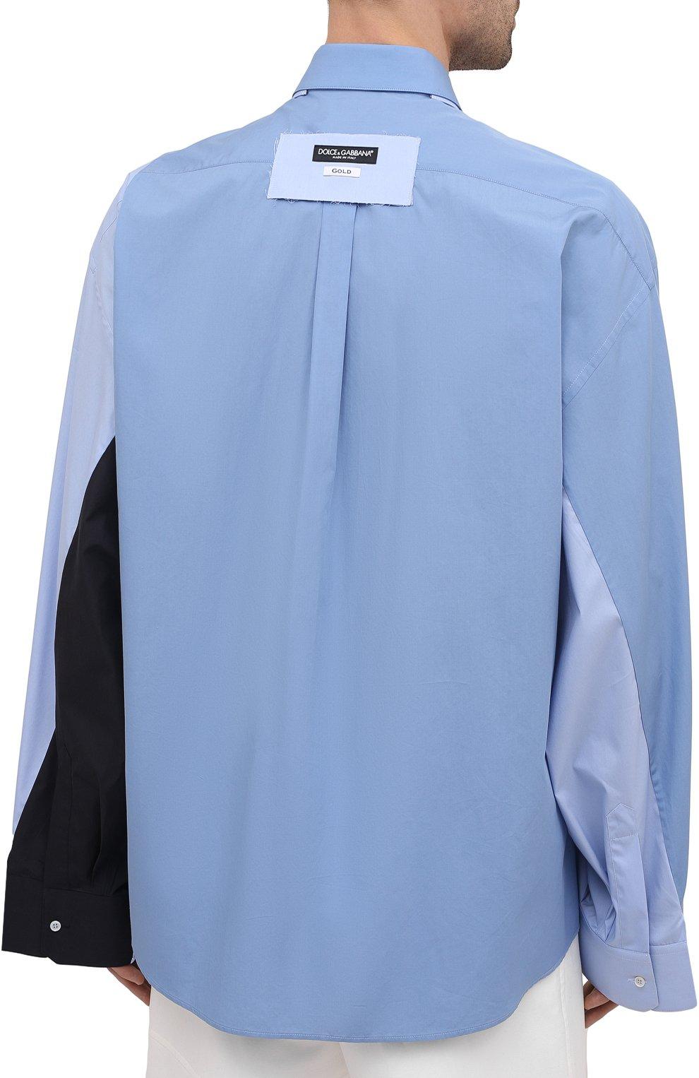 Мужская рубашка DOLCE & GABBANA голубого цвета, арт. G5IN5T/GEQ26 | Фото 4 (Манжеты: На пуговицах; Воротник: Кент; Рукава: Длинные; Случай: Повседневный; Длина (для топов): Стандартные; Материал внешний: Хлопок; Принт: Однотонные; Стили: Бохо)