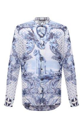 Мужская шелковая рубашка DOLCE & GABBANA голубого цвета, арт. G5HR1T/FI1VQ   Фото 1