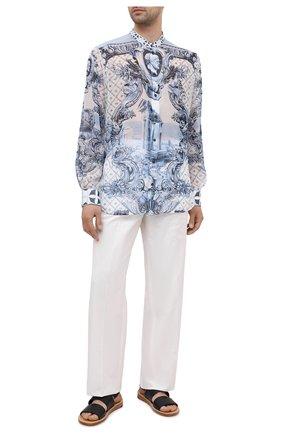 Мужская шелковая рубашка DOLCE & GABBANA голубого цвета, арт. G5HR1T/FI1VQ   Фото 2