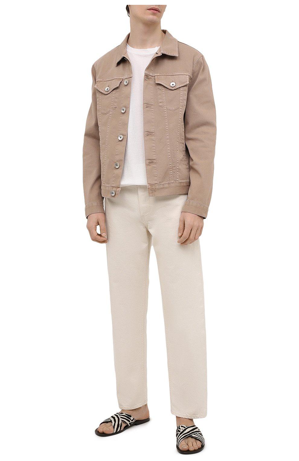 Мужские кожаные шлепанцы RALPH LAUREN коричневого цвета, арт. 815838175   Фото 2