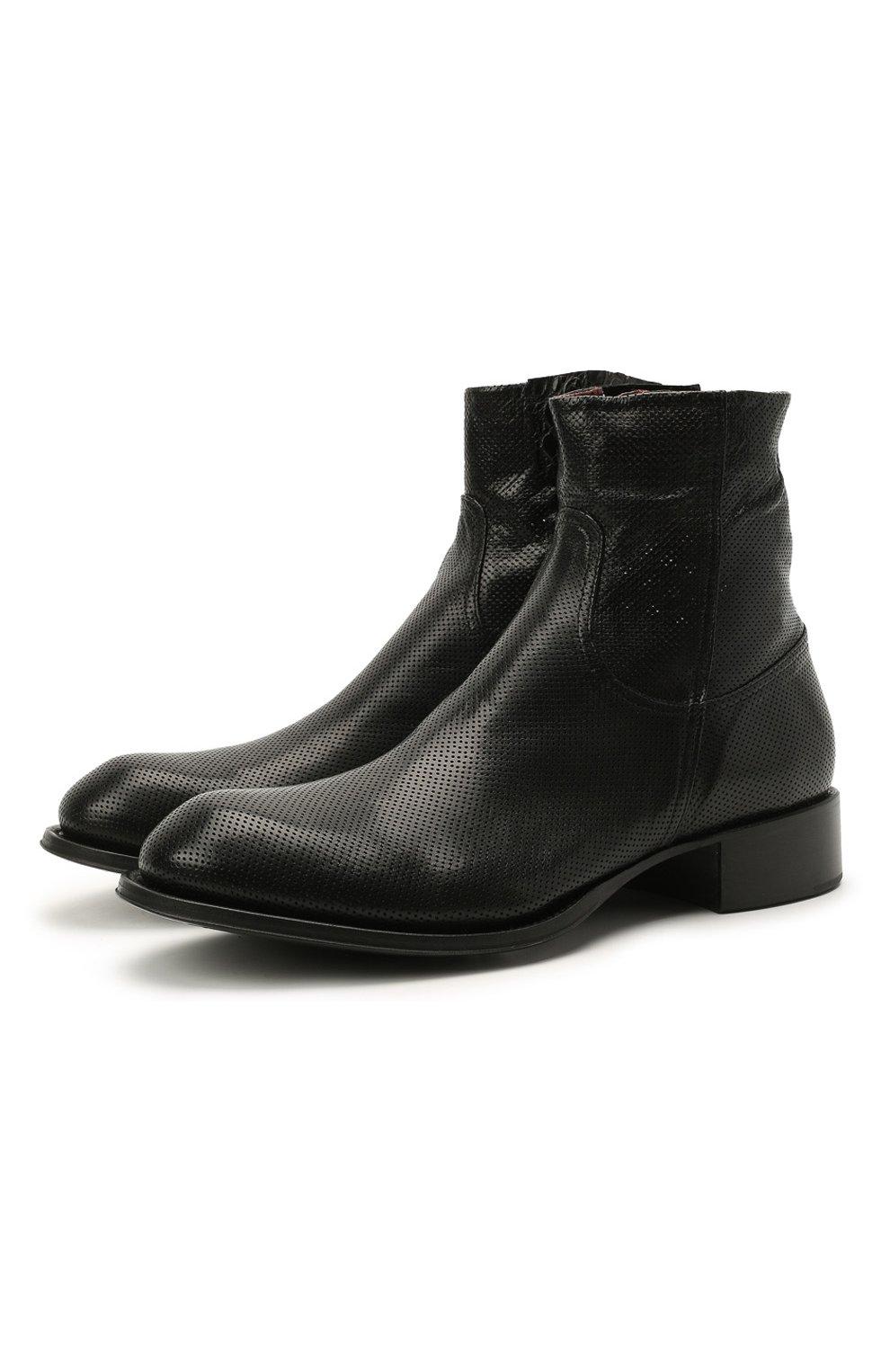 Мужские кожаные сапоги ROCCO P. черного цвета, арт. 12031/UNIVERSAL   Фото 1