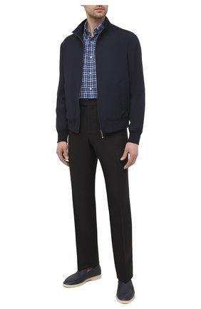 Мужская хлопковая рубашка ERMENEGILDO ZEGNA темно-синего цвета, арт. UWX08/SAL2 | Фото 2 (Рукава: Длинные; Длина (для топов): Стандартные; Материал внешний: Хлопок; Случай: Повседневный; Принт: Клетка; Манжеты: На пуговицах; Воротник: Кент; Стили: Кэжуэл)