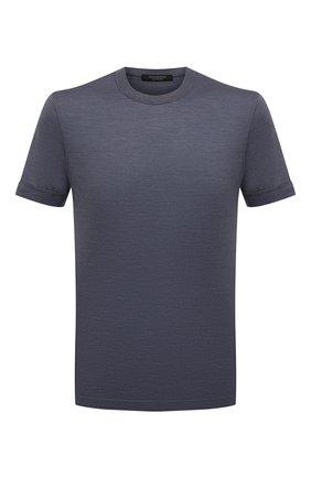 Мужская футболка из хлопка и шелка ERMENEGILDO ZEGNA синего цвета, арт. UW386/706   Фото 1