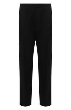 Мужские шерстяные брюки VERSACE черного цвета, арт. A88845/1F00737   Фото 1 (Материал внешний: Шерсть; Длина (брюки, джинсы): Стандартные; Случай: Повседневный; Стили: Кэжуэл)