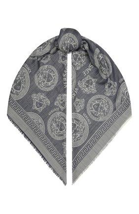Мужской шарф из шерсти и шелка VERSACE синего цвета, арт. IF01401/1F01364 | Фото 1