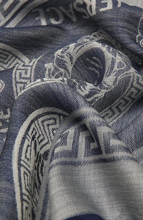 Мужской шарф из шерсти и шелка VERSACE синего цвета, арт. IF01401/1F01364 | Фото 2