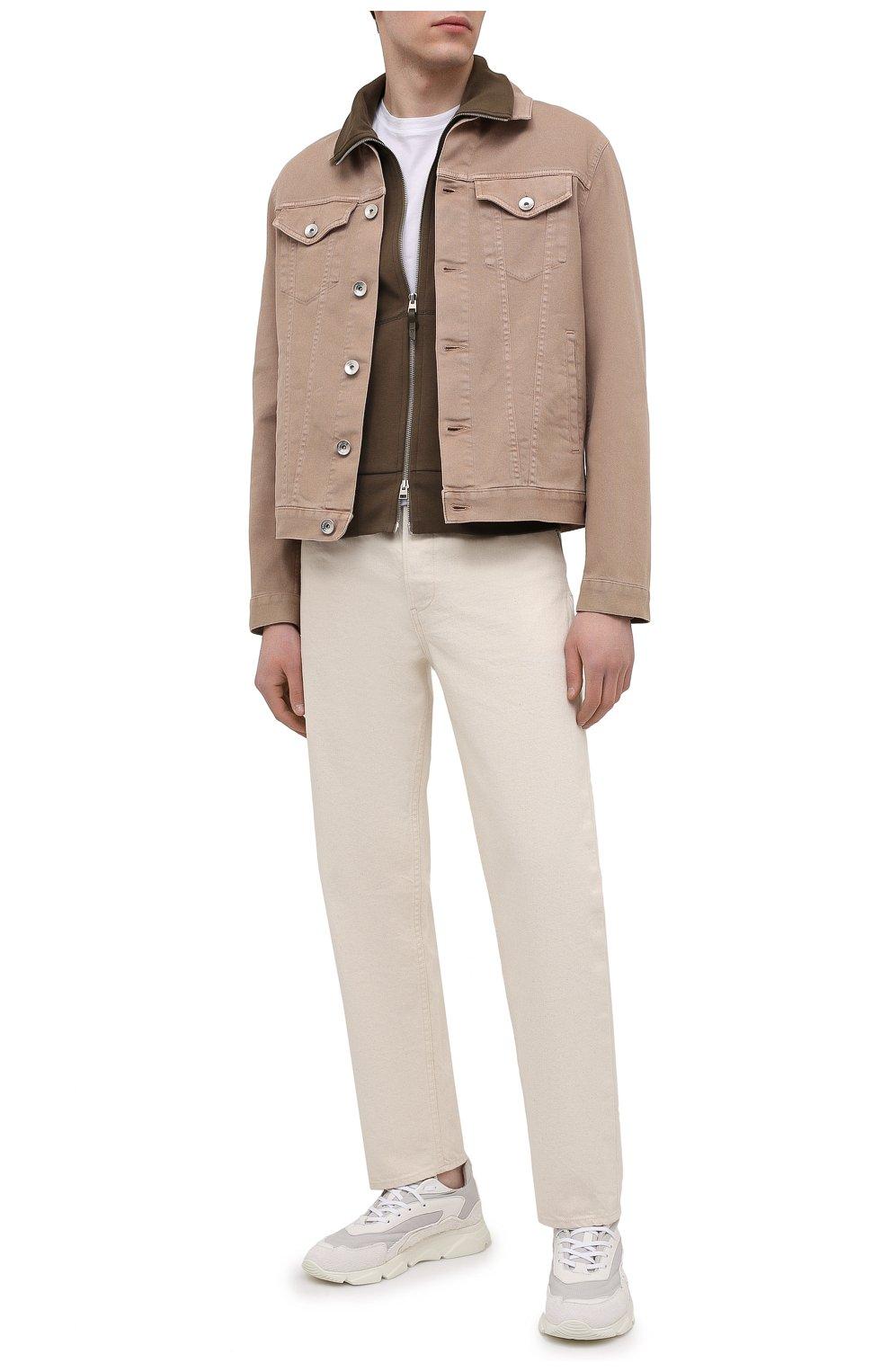 Мужские комбинированные кроссовки MOMA белого цвета, арт. 4AS130-ML   Фото 2 (Материал внешний: Текстиль; Материал внутренний: Натуральная кожа; Стили: Гранж; Подошва: Массивная)