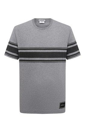 Мужская хлопковая футболка BRIONI серого цвета, арт. UJCH0L/09635 | Фото 1 (Материал внешний: Хлопок; Длина (для топов): Стандартные; Рукава: Короткие; Принт: С принтом; Стили: Кэжуэл)